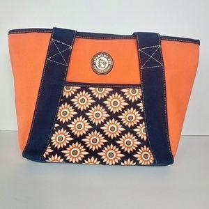 Spartina 449 Orange Navy Sunflower Design Tote